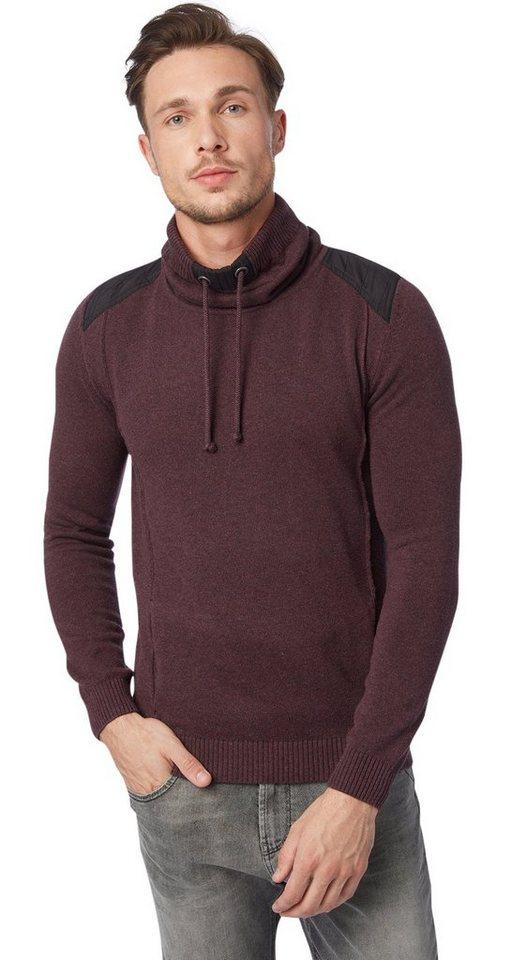 TOM TAILOR Pullover »sweater with nylon details« in dark allium purple m