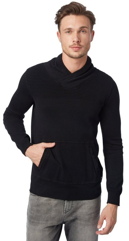 TOM TAILOR Pullover »snood sweater with pocket« in almost black