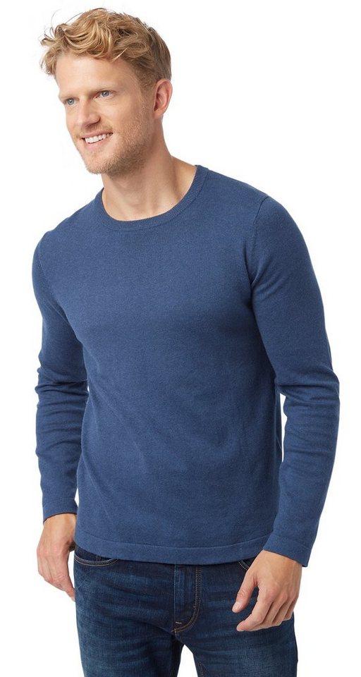 TOM TAILOR Pullover »cashmere crew neck sweater« in dull indigo blue mel