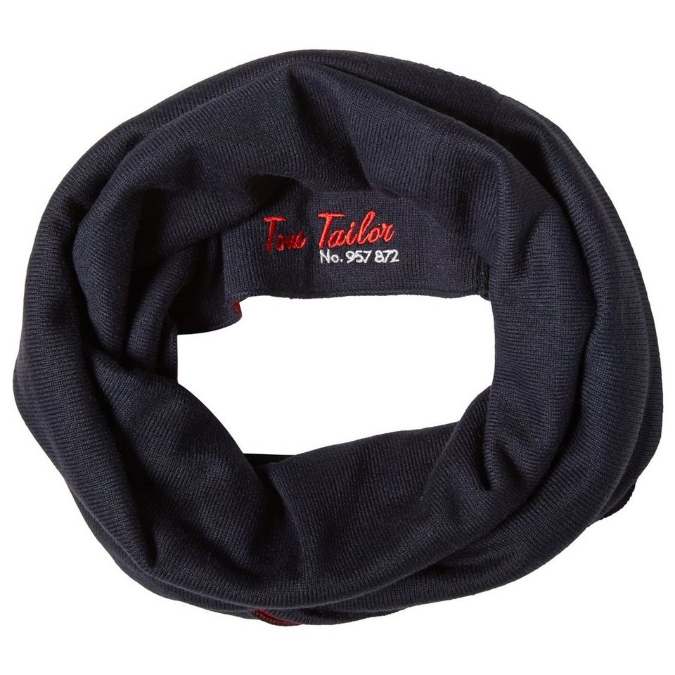 TOM TAILOR Schal »loop scarf two-colored« in knitted navy