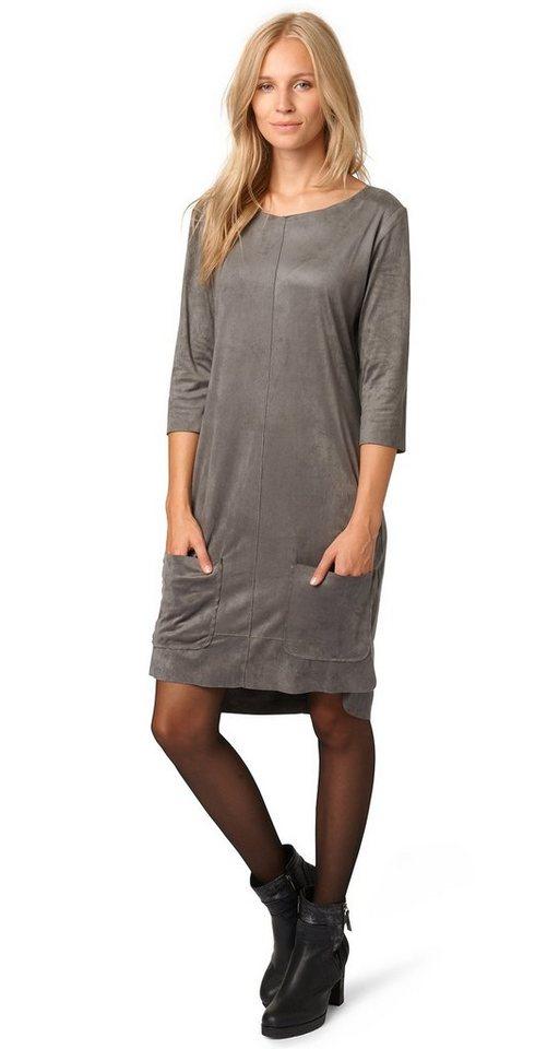 TOM TAILOR Kleid »Kleid in Velourleder-Optik« in smoked pearl grey