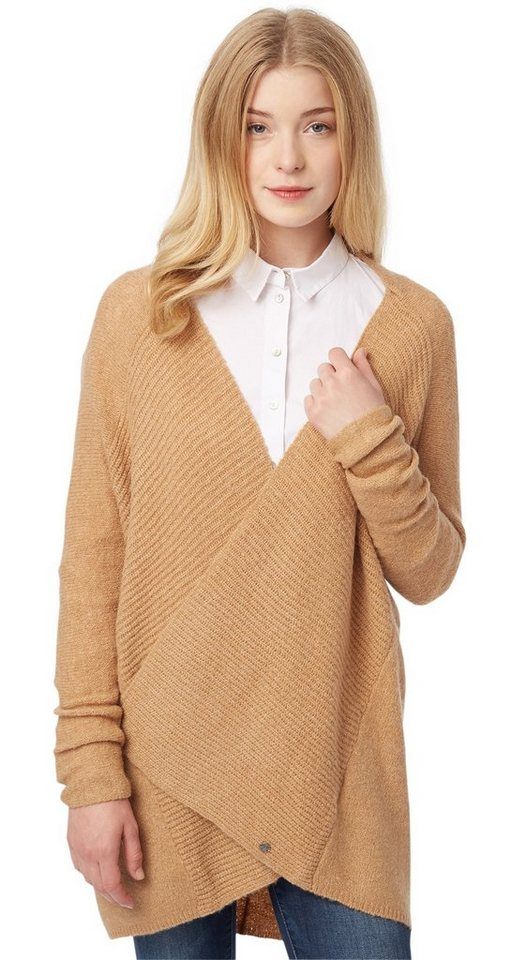 TOM TAILOR Strickjacke »feminine woolen cardigan« in Sienna Sand Melange