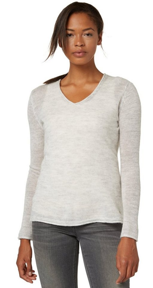 TOM TAILOR Pullover »Pullover mit Mohair-Anteil« in bleached grey melang