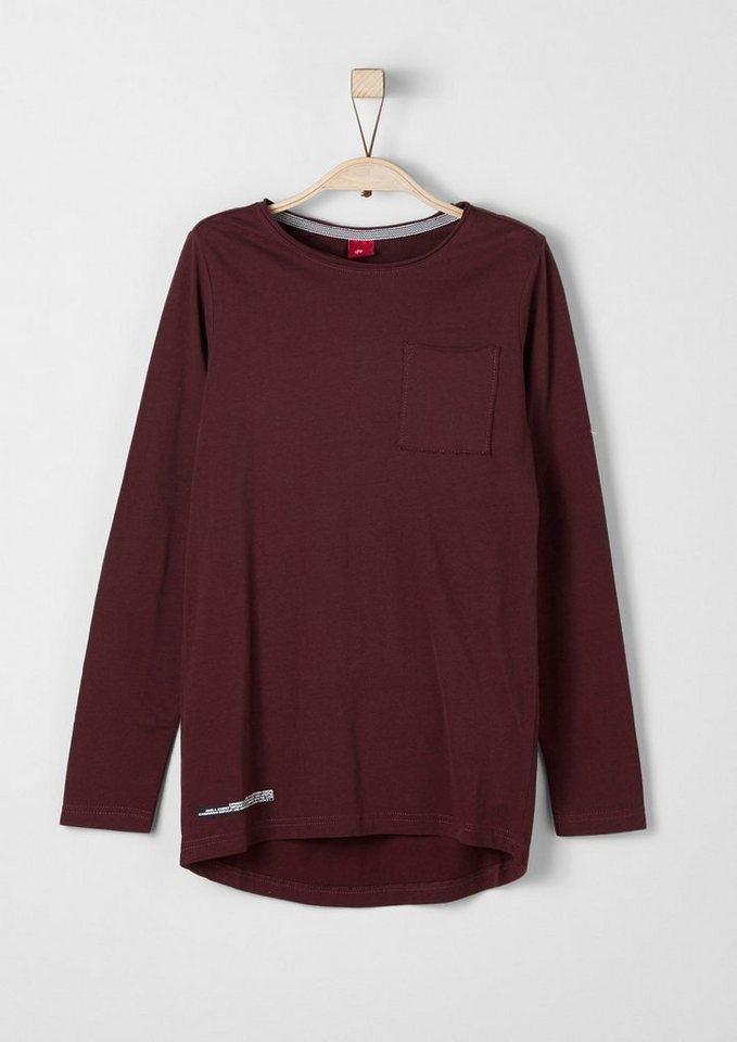 s.Oliver RED LABEL Junior Slim: Longshirt mit Rücken-Print für Jungen in dark red