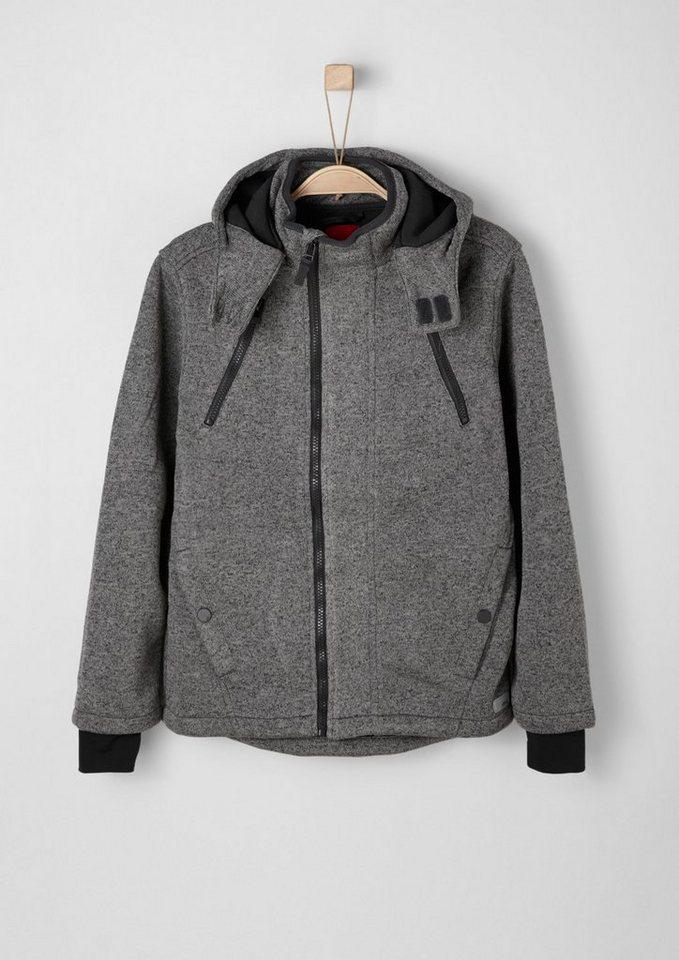 s.Oliver RED LABEL Junior Outdoor-Jacke in Strick-Optik für Jungen in dark grey