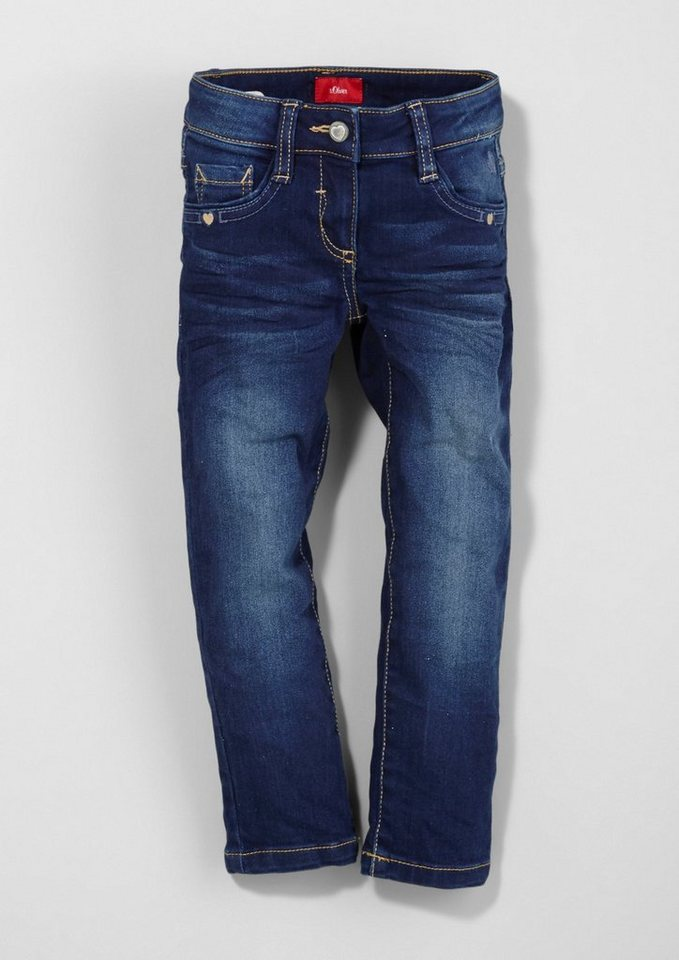 s.Oliver RED LABEL Junior Kathy Straight: Jeans mit Stitchings für Mädchen in blue denim stretch