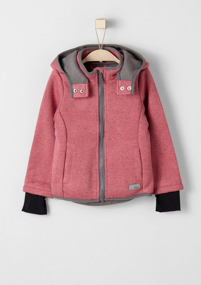s.Oliver RED LABEL Junior Melierte Outdoor-Strickjacke für Mädchen in pink melange