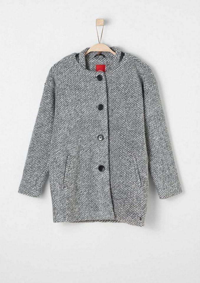 s.Oliver RED LABEL Junior Leichter Wollmix-Mantel für Mädchen in grey tweed