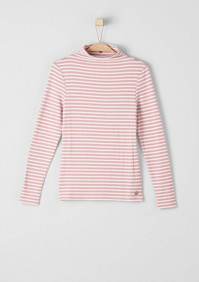 s.Oliver RED LABEL Junior Rippshirt mit Turtleneck für Mädchen in light red stripes