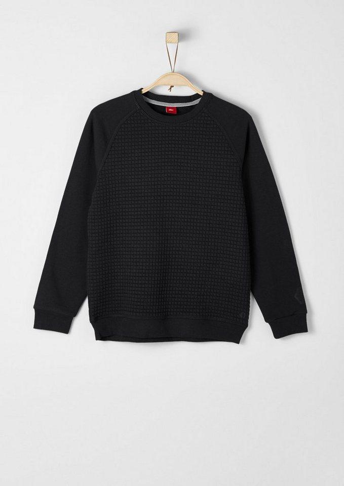 s.Oliver RED LABEL Junior Sweatshirt mit Struktur-Mix für Jungen in dark grey