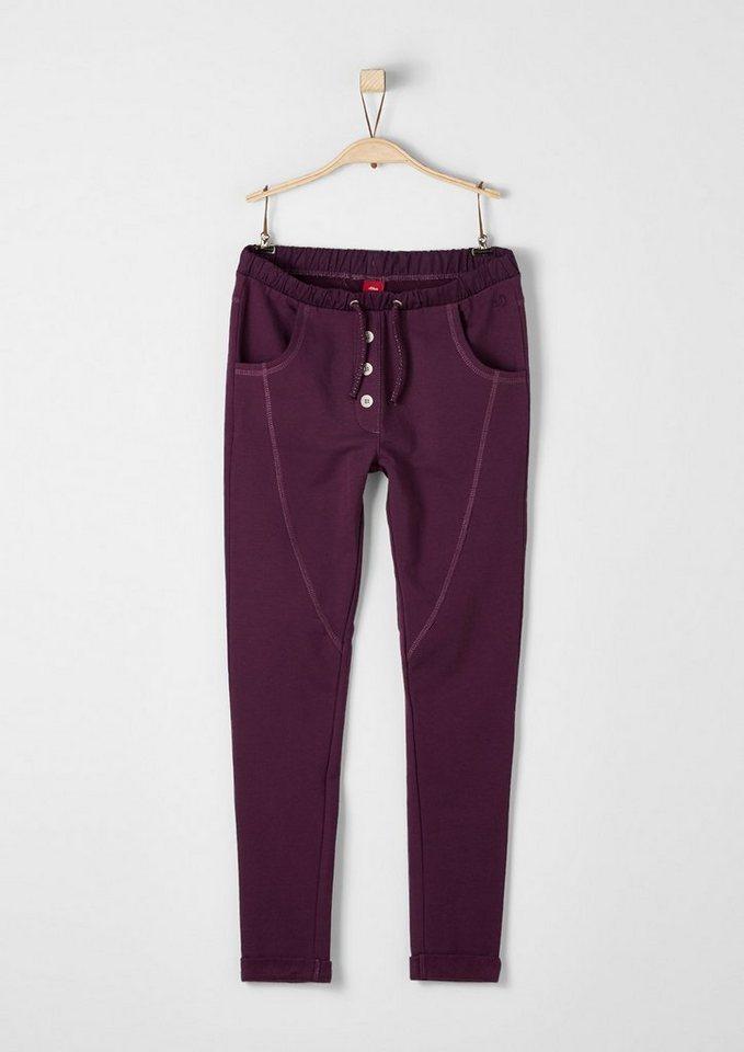 s.Oliver RED LABEL Junior Warme Jogging Pants mit Effektnaht für Mädchen in dark pink