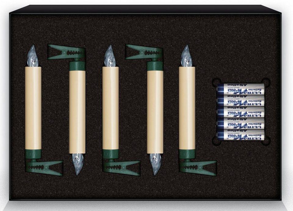 Krinner LUMIX Classic LED-Christbaumkerze, 5er Erweiterungs-Set, elfenbein in elfenbeinfarben