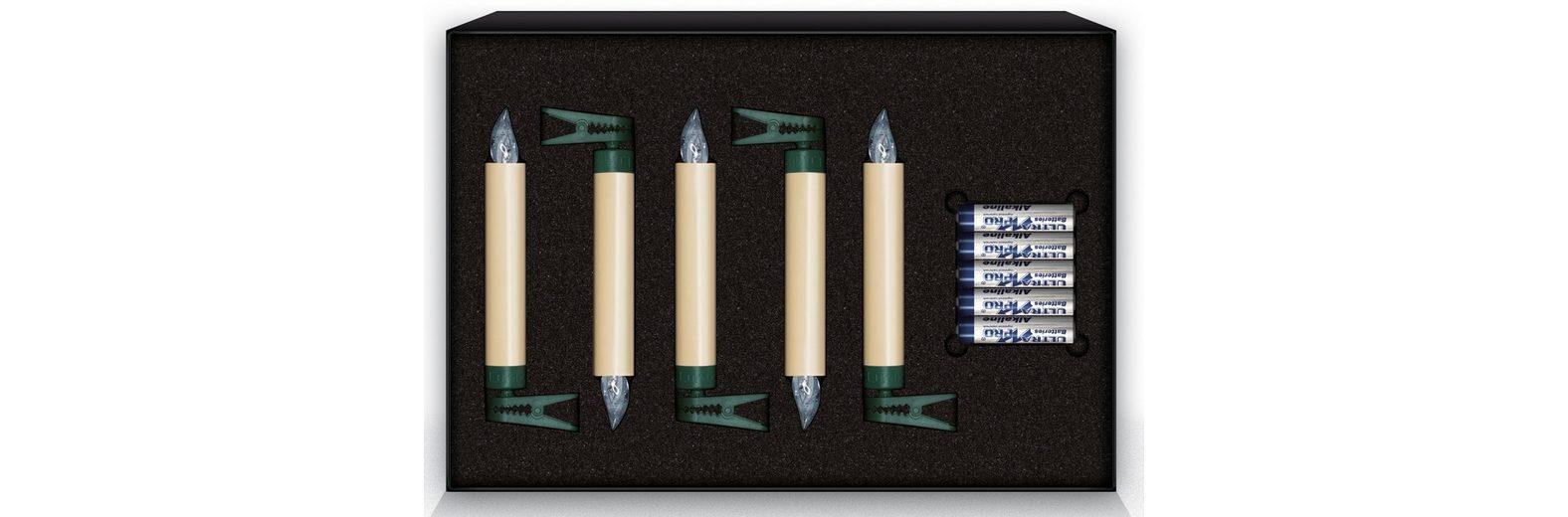 Krinner LUMIX Classic LED-Christbaumkerze, 5er Erweiterungs-Set, elfenbein