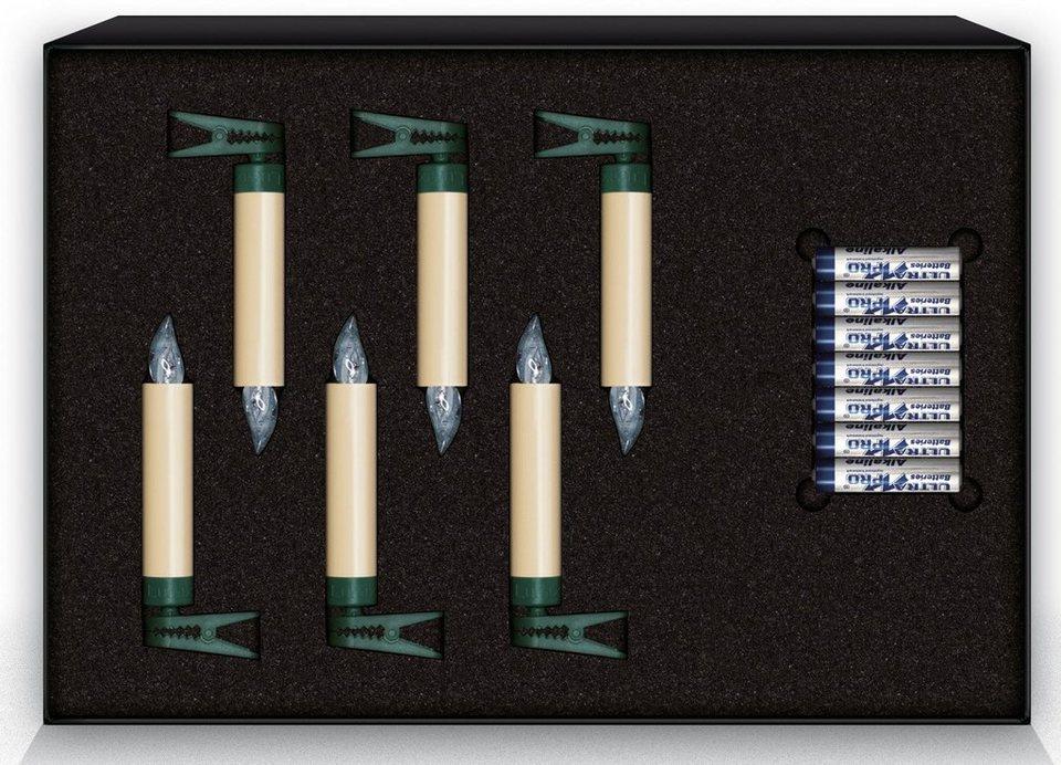 Krinner LUMIX LED-Christbaumkerzen Erweiterungs-Set, 6 er, »Lumix Classic Mini« in elfenbeinfarben