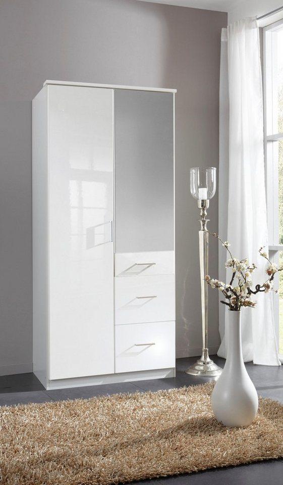 Wimex Kleiderschrank in weiß/weiß Hochglanz