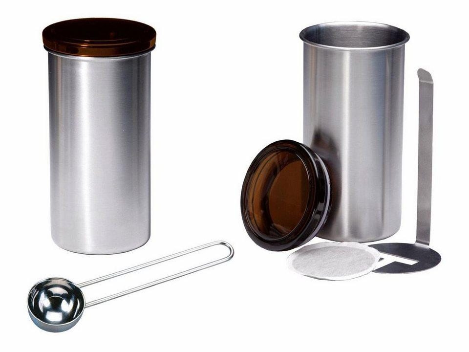 CHG Kaffeepad-Dose mit »Lifesystem«, 2 Stück, rostfreien Edelstahl/ Kunststoff ABS + Kaffeemaß in silberfarben