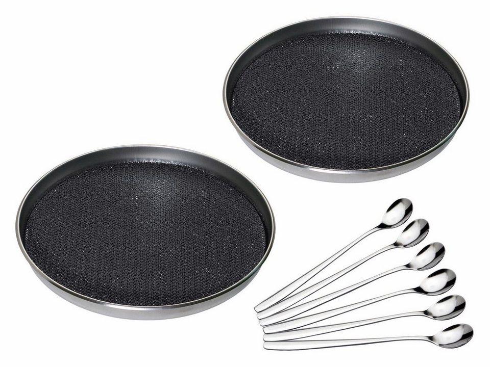 CHG Serviertablett, Antirutsch (2 Stück), rostfreien Edelstahl + 6x Longdrink-/Joghurt-/ Eislöffel in schwarz, silber