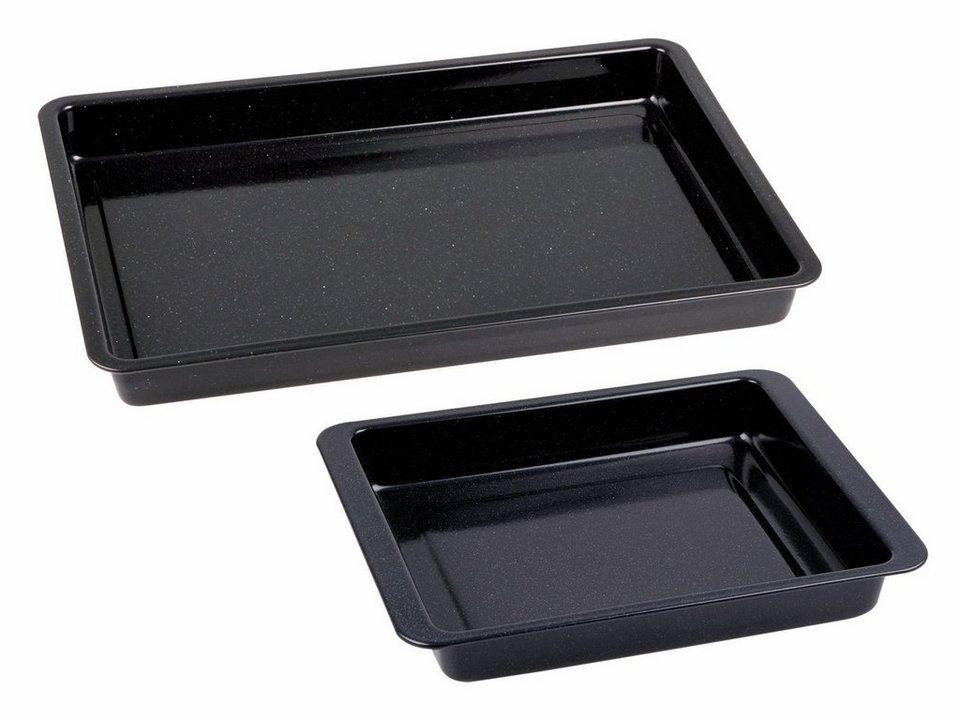 CHG Set: Backblech + kleine Ofenform, 2-teilig , »Emaille« in schwarz