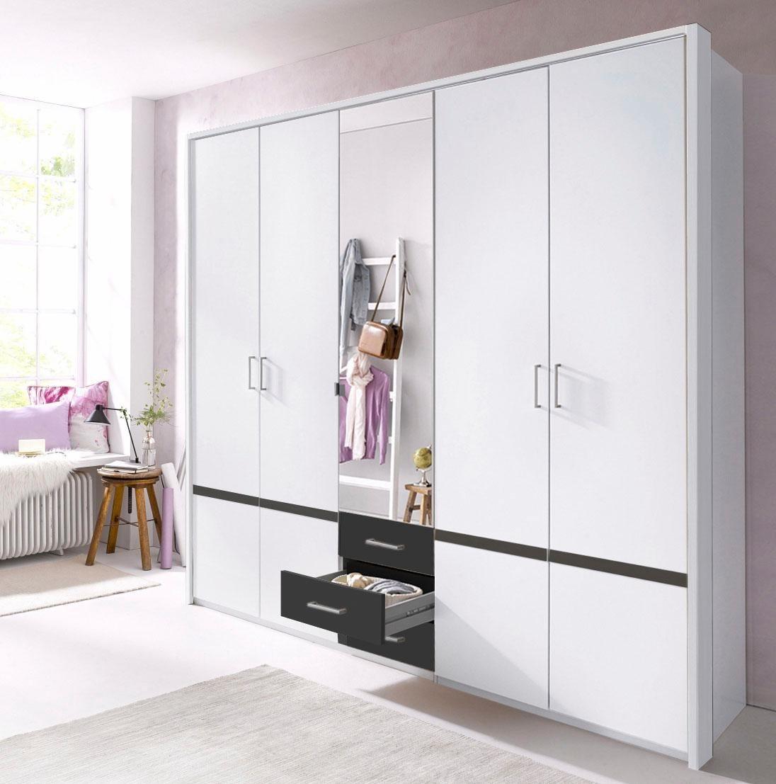 Attraktiv Kleiderschrank 270 Cm Breit Galerie Von Wimex 225 5-türig In Weiß / Anthrazit