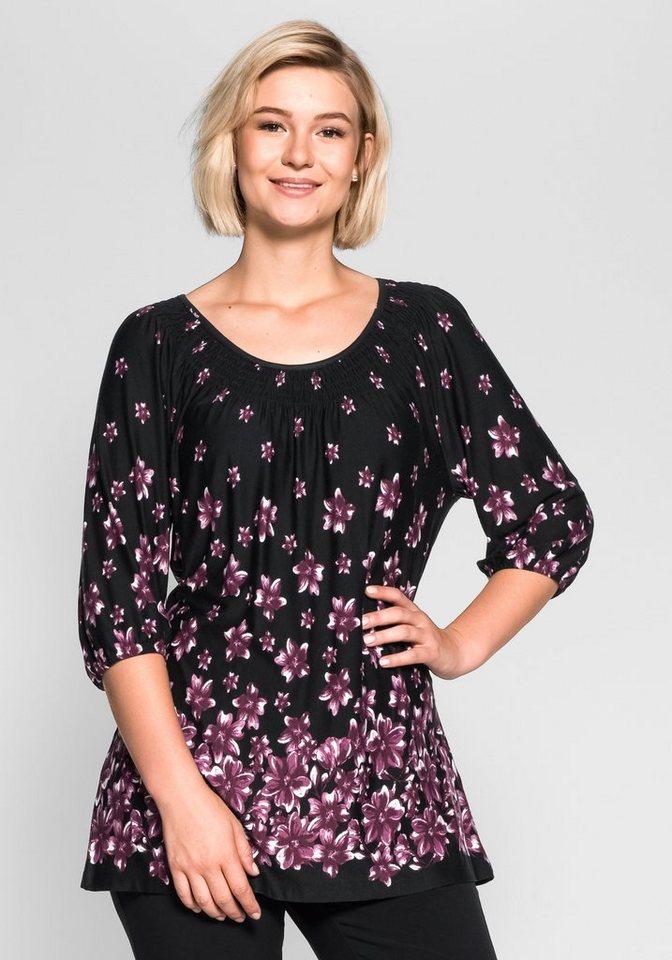sheego Style Shirt in schwarz bedruckt