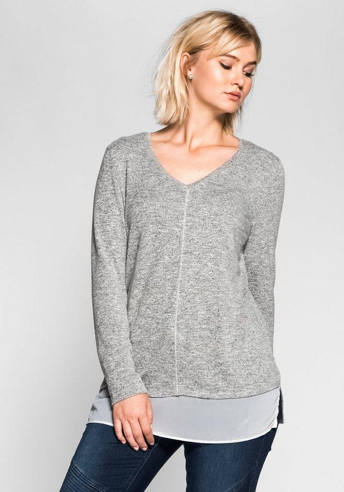 Longshirt mit Bluse in grau/weiß