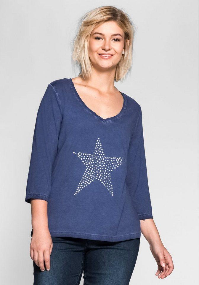 sheego Casual 3/4-Arm-Shirt mit Nietenapplikation in jeansblau