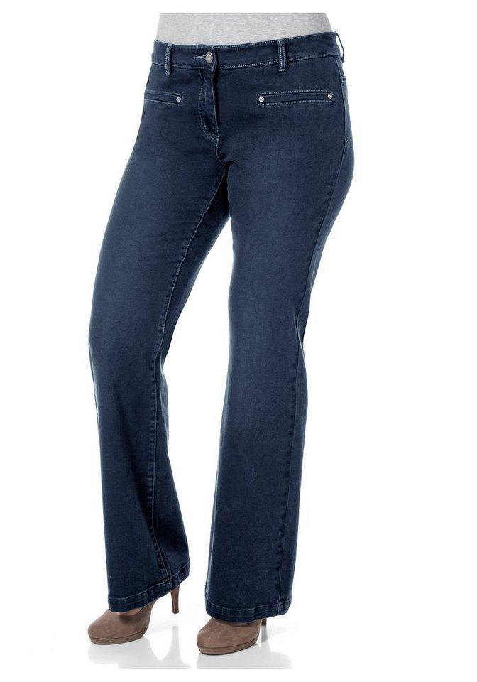 Joe Browns Bootcut-Stretch-Jeans mit Ziertaschen in dark blue Denim