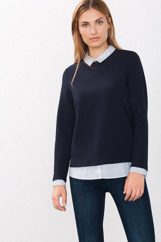 ESPRIT COLLECTION 2in1 Struktur-Shirt mit Blusendetails in NAVY
