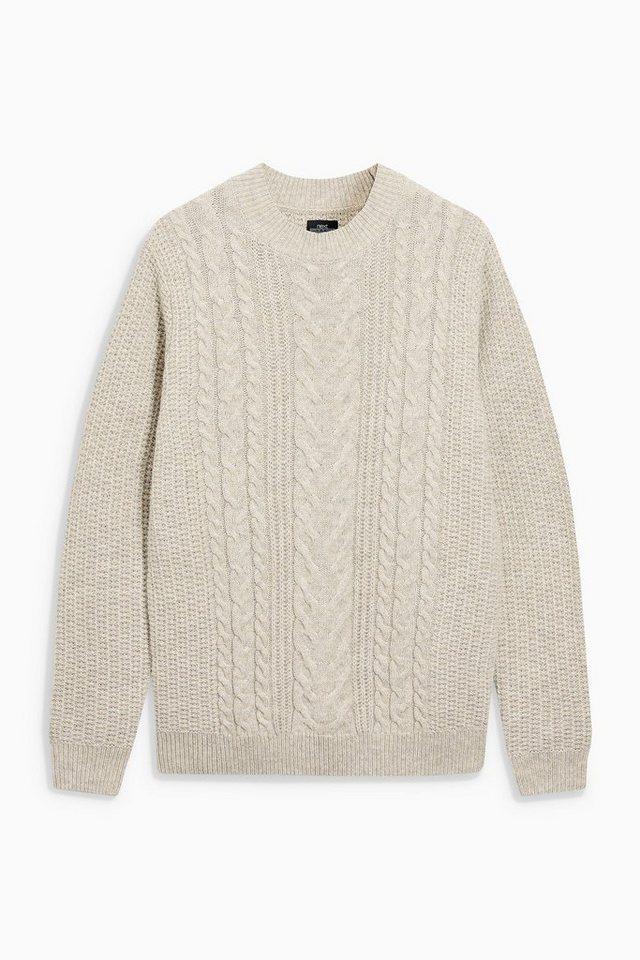 Next Pullover mit Zopfmuster und Rundhalsausschnitt in Neutral