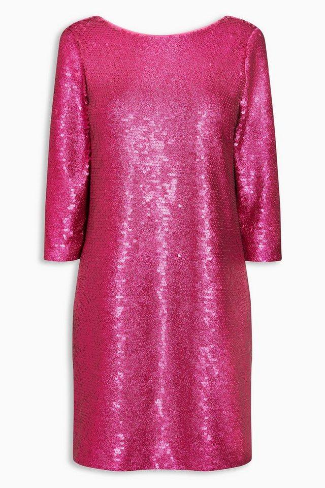 Next Langärmeliges Kleid mit Pailletten in Pink