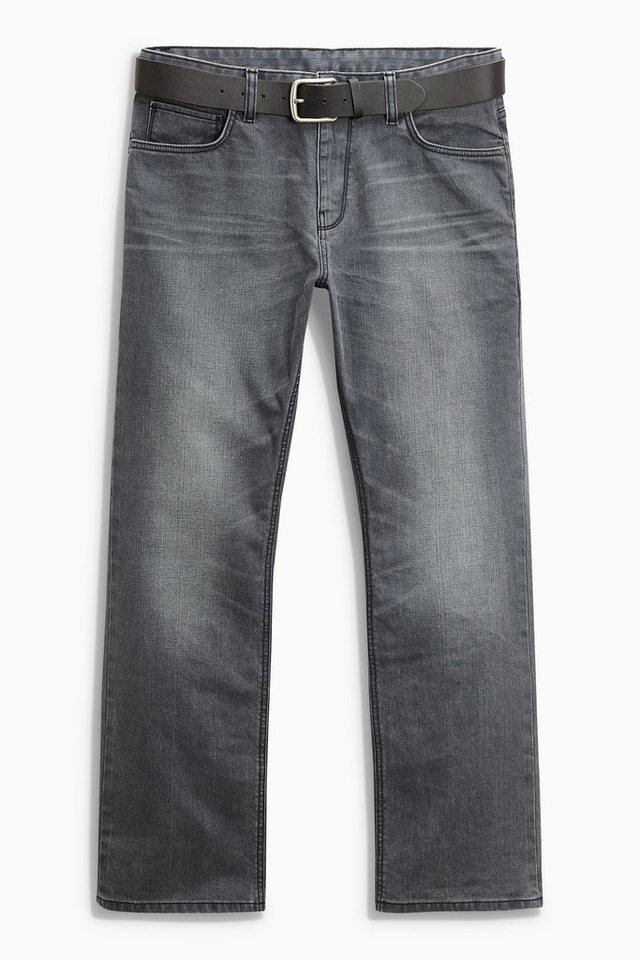 Next Boot-Fit Jeans mit Gürtel 2 teilig in Grey Boot Fit