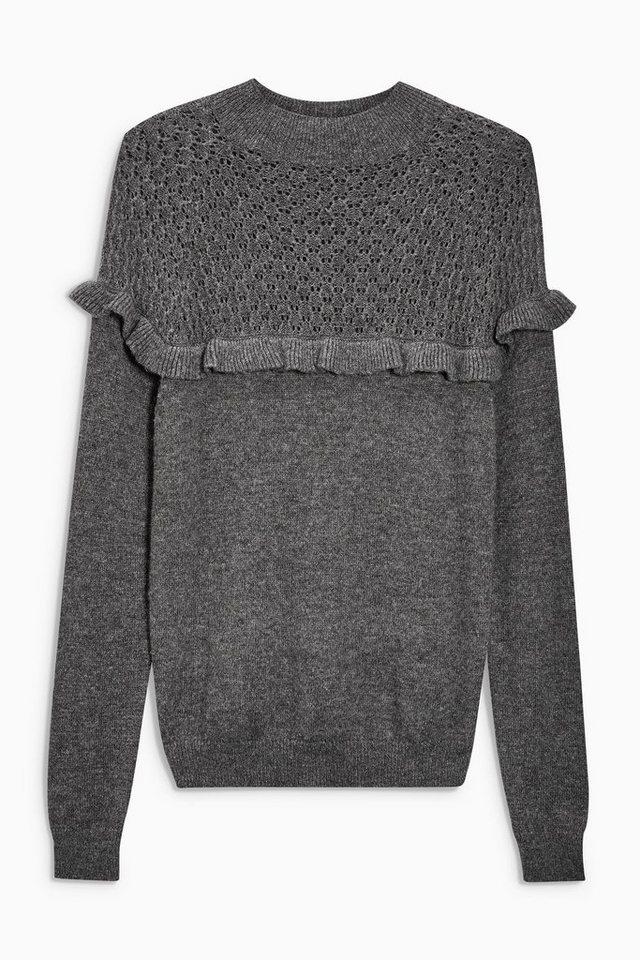 Next Ajour-Pullover mit Rüschendetails in Charcoal
