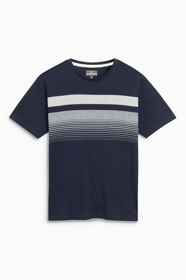 Next Premium-T-Shirt mit Streifen auf der Brust in Blue