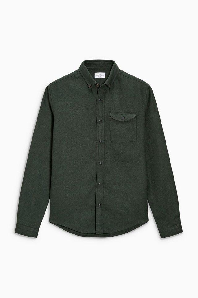 Next Hemd mit Wolle in Khaki