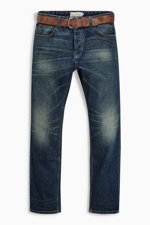 Next Teal Wash Slim-Fit Jeans mit Gürtel 2 teilig in Teal Wash Slim Fit