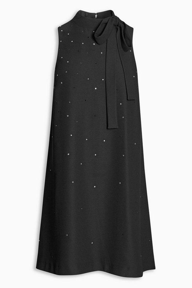 Next Strassbesetztes Kleid mit Schleife in Black