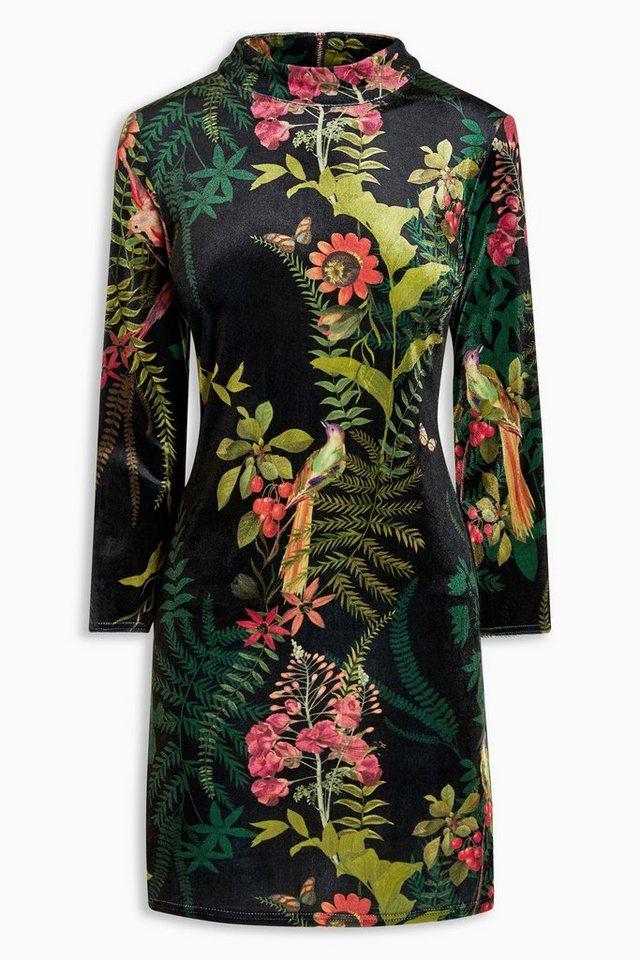 Next Figurbetontes Samtkleid mit Blumenmuster in Black Floral
