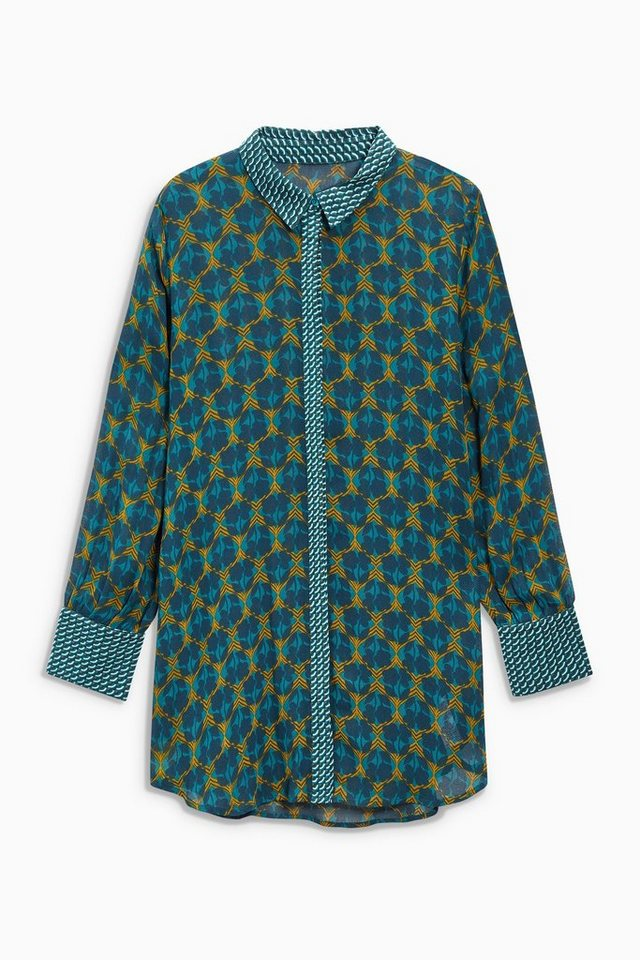 Next Langbluse mit Print in Teal Blue