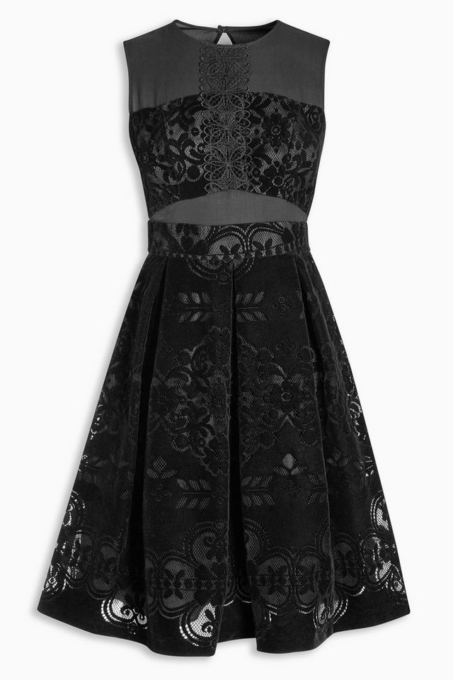 Next Spitzenkleid aus Samt in Black
