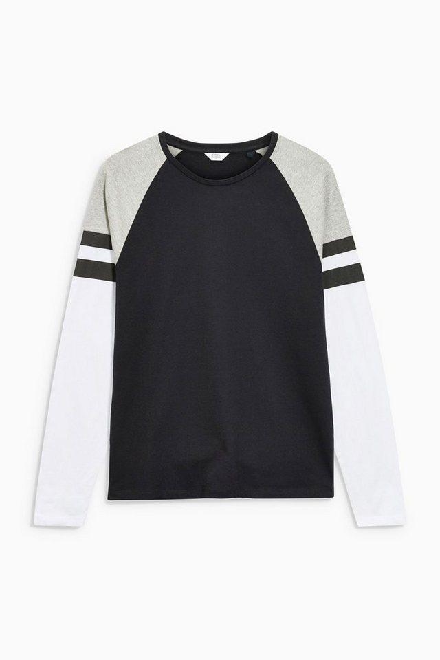 Next Shirt mit gestreiften Raglanärmeln in Black
