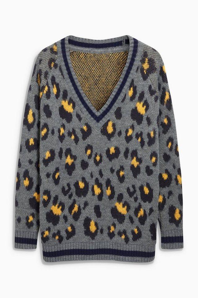 Next Langer Pullover mit Animalprint in Grey