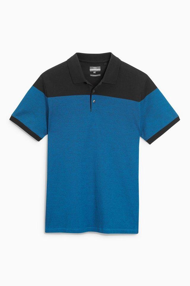 Next Premium-Poloshirt in Blockoptik in Cobalt