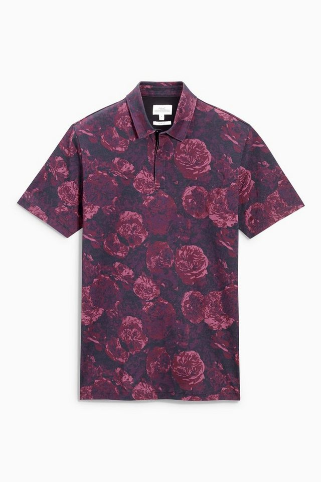 Next Poloshirt mit floralem Print in Purple