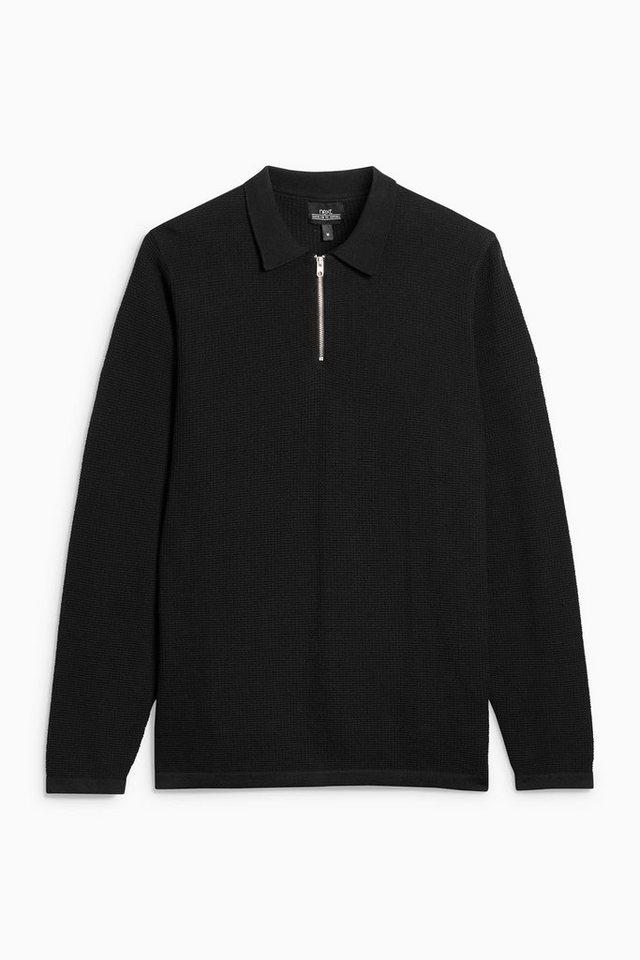 Next Poloshirt mit RV-Kragen in Black