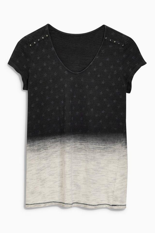 Next T-Shirt mit Sternen-Print und besonderer Waschung in Black
