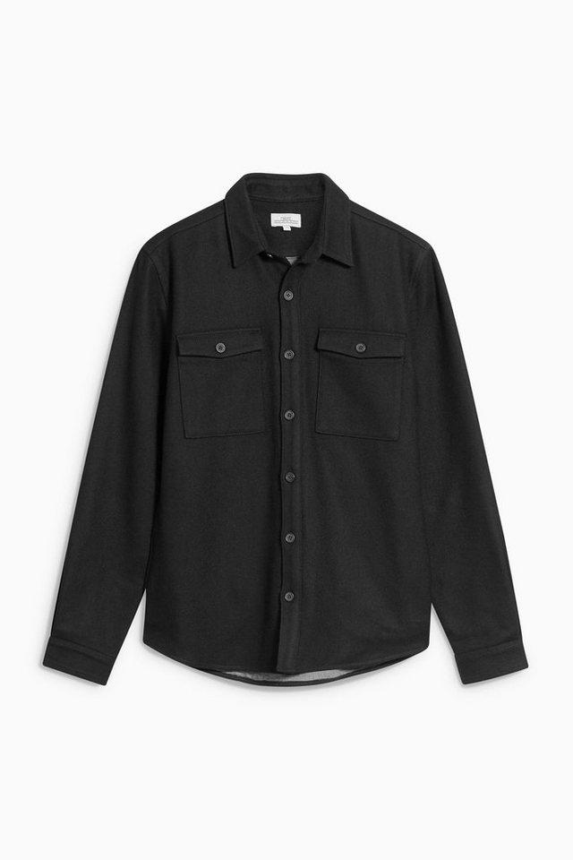 Next Langärmelige Hemdjacke aus Wollgemisch in Black
