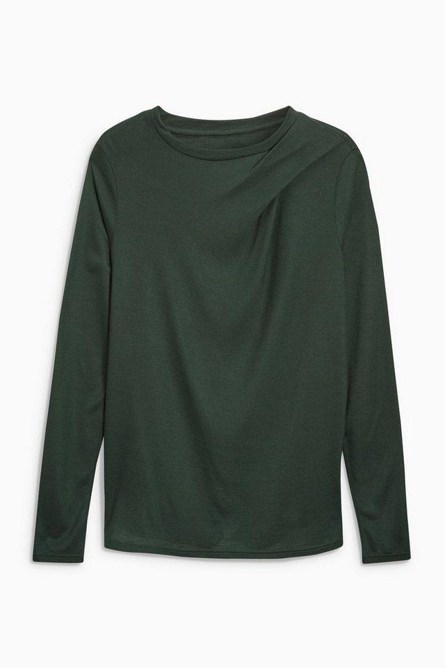 Next Shirt mit gefälteter Schulterpartie in Green