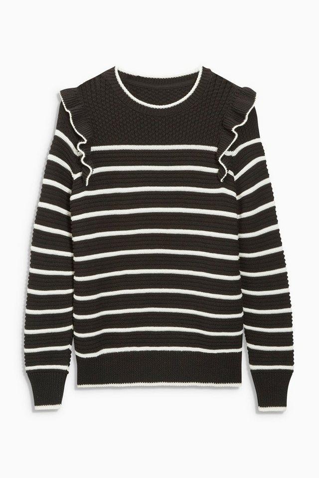Next Gestreifter Pullover mit Rüschen in Black/White