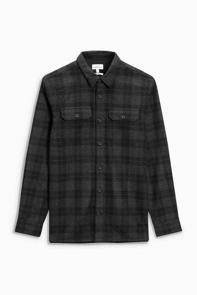 Next Langärmelige Oberhemd mit Karos in Black