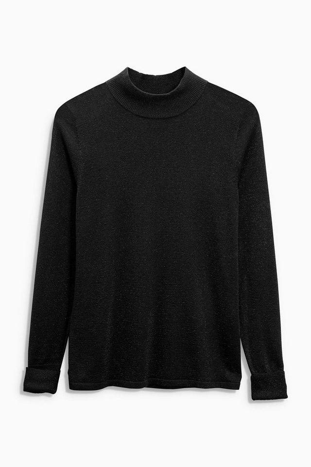 Next Pullover in Metallic-Optik mit geraffter Rückseite in Black